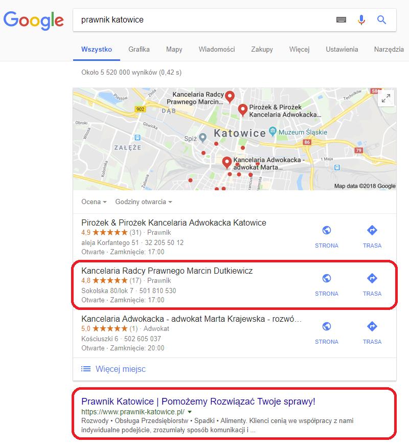 pierwsze miejsce wGoogle dlafrazy prawnik katowice