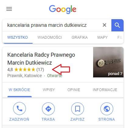 opinie ofirmie wGoogle