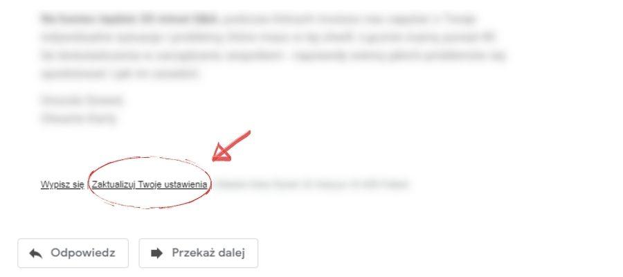 Email marketing aRODO - możliwość aktualizowania przezużytkownika ustawień prywatności