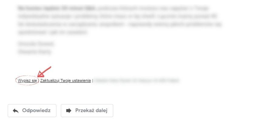 Email marketing aRODO - link dorezygnacji zsubskrypcji